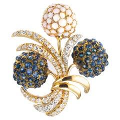 2.25 Carat Diamond Opal Sapphire Hydrangea Flower Gold Brooch