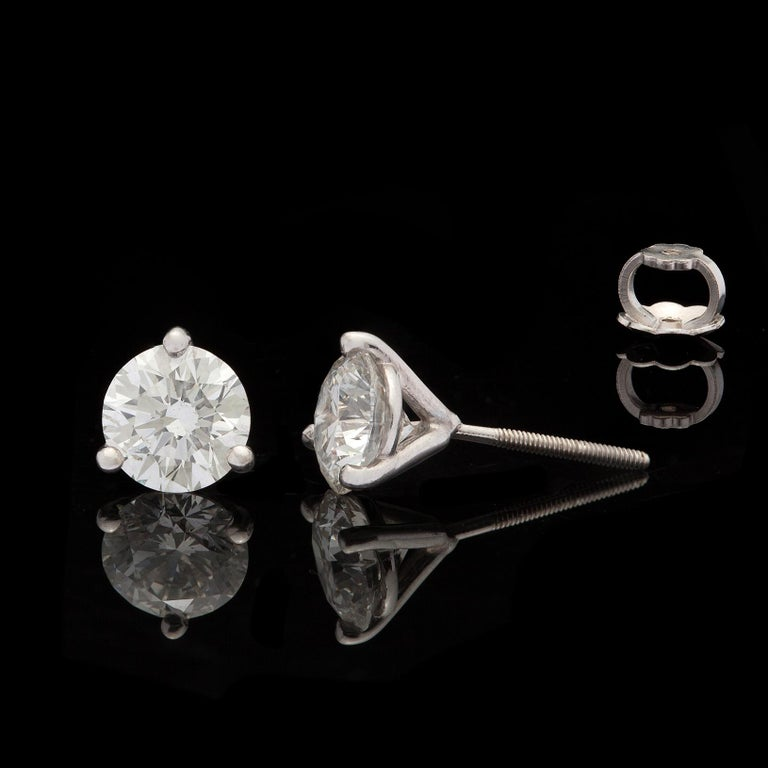 Round Cut 2.25 Carat Diamond Stud Earrings in Platinum Martini Setting For Sale