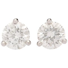 2.25 Carat Diamond Stud Earrings in Platinum Martini Setting