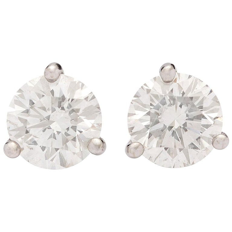 2.25 Carat Diamond Stud Earrings in Platinum Martini Setting For Sale