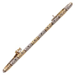2.25 Carat Diamond Two-Tone 14 Karat Gold Link Bracelet