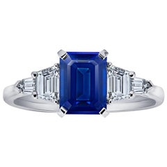 2.25 Carat Emerald Cut Blue Sapphire and Diamond Platinum Ring