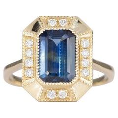 2.25 Carat Emerald Cut Teal Blue Sapphire 14 Karat Gold Diamond Halo Ring AD1813