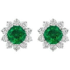 2.25 Carat Emerald Diamond Earrings