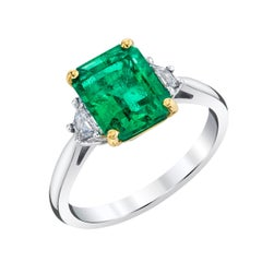 2.25 Carat Emerald, Diamond, Platinum Yellow Gold 3-Stone Engagement Ring
