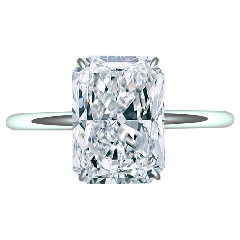 2.25 Carat F-VSE GIA Certified Radiant Diamond Engagement Ring For Sale