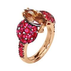 2.25 Carat GIA Certified Fancy Orange Brown Diamond Burmese Red Spinel Ring