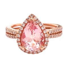 2.25 Carat Morganite Pear and .49 Carat Diamond Halo Criss Cross Ring, Rose Gold