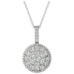 2.25 Carat Natural Diamond Necklace Pendant 14 Karat White Gold G SI