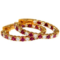 2.25 Carat Natural Ruby Diamonds Alternated Hoop Earrings 14 Karat