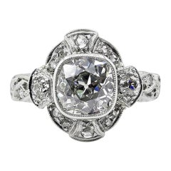 2.25 Carat Old Mine Cushion Diamond Engagement Platinum Ring EGL, USA