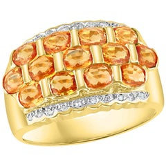 2.25 Carat Oval Cut Natural Yellow Sapphire and Diamond 14 Karat Gold Ring
