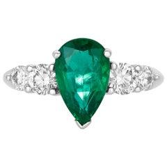 2.25 Carat Pear Shape Emerald and Round White Diamond Ring 18 Karat Gold
