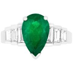 Pear Natural Emerald Graduating Baguette White Diamond Step Ring 18K White Gold
