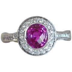 2.25 Carat Pink Sapphire and Diamond and Platinum Engagement Ring