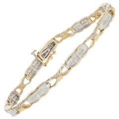 2.25 Carat Princess Cut Diamond Bracelet, 14 Karat Yellow Gold Link