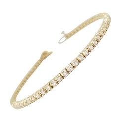 2.26 Carat Round Brilliant Natural Diamond Tennis Bracelet 14 Karat Yellow Gold