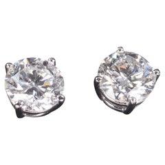2.25 Carat Round Diamond Stud Earrings in White Gold Screwbacks
