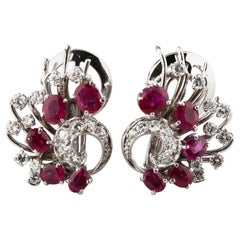 2.25 Carat Ruby and Diamond Ornate Clip-On Earrings in White Gold