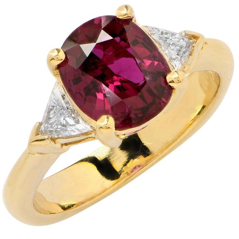 2 25 Carat Ruby And Diamond Ring 18 Karat Yellow Gold For