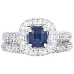 2.25 Carat Square Sapphire and Diamond Ring and Wedding Band 14 Karat Gold Halo