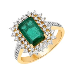 2.25 Carat Zambian Emerald and Diamond 18 Karat Yellow Gold Cocktail Ring