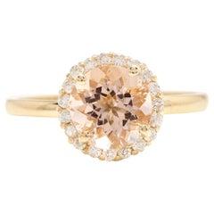 2.25 Carats Natural Morganite and Diamond 14k Solid Yellow Gold Ring