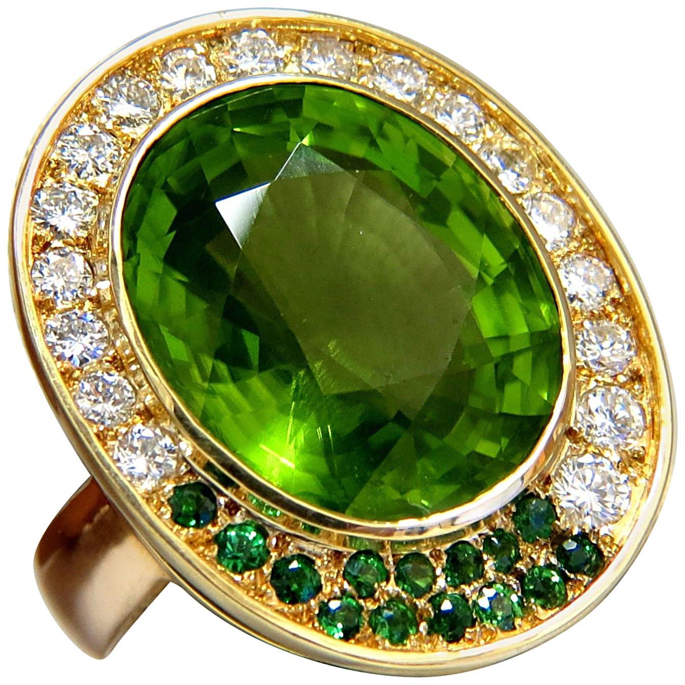 22.50 Carat Natural Green Peridot Diamond Demantoid Ring 14 Karat
