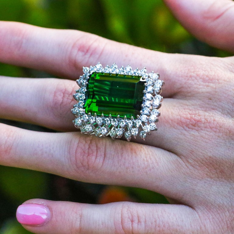 Coming From The 1940's This ring has been specially curated by William David. Holding a prominent place in his collection, Irreplaceable jewelry from an era passed. Own this beautiful piece of history today.  • 22.50 Carat Tourmaline • 2.72 Carats