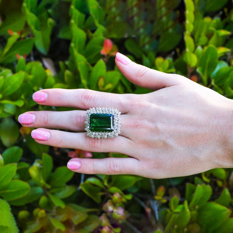 Emerald Cut 22.50 Carat Tourmaline Ring with 2.72 Carats of Diamonds from the 1940's For Sale