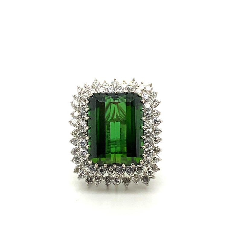 22.50 Carat Tourmaline Ring with 2.72 Carats of Diamonds from the 1940's In Excellent Condition For Sale In Carlsbad, CA
