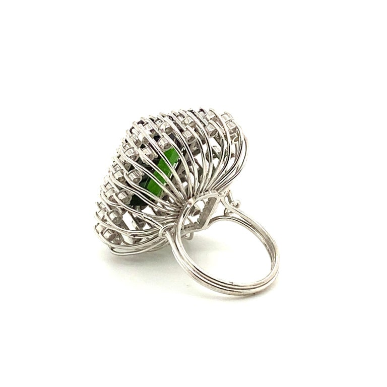 Women's 22.50 Carat Tourmaline Ring with 2.72 Carats of Diamonds from the 1940's For Sale