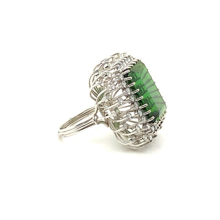 22.50 Carat Tourmaline Ring with 2.72 Carats of Diamonds from the 1940's For Sale 1