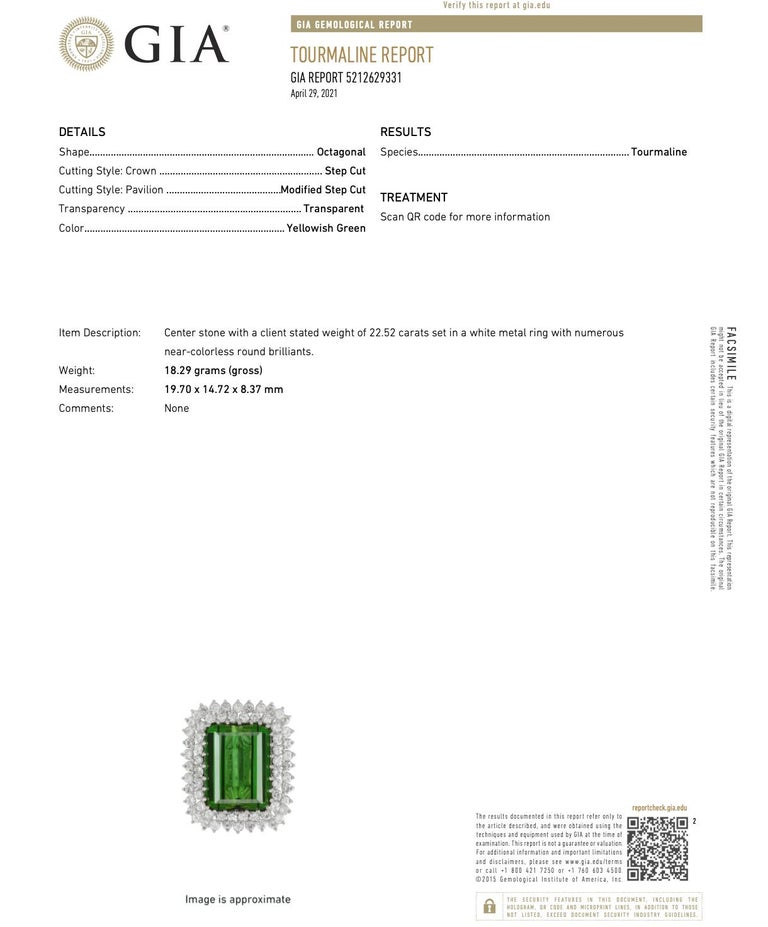 22.50 Carat Tourmaline Ring with 2.72 Carats of Diamonds from the 1940's For Sale 3