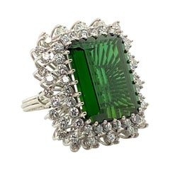 22.50 Carat Tourmaline Ring with 2.72 Carats of Diamonds from the 1940's