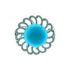 22.56 Carat Turquoise, 1.12 Carat Diamond Ring in 18 Karat White Gold