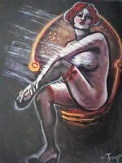 Vintage Years - Black Stockings  Female Nude, Painting, Acrylic on Canvas