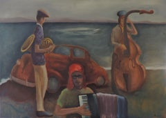 THE BEACH, Painting, Oil on Canvas