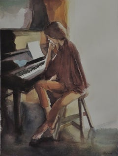 JUNE PIANO, Painting, Watercolor on Watercolor Paper