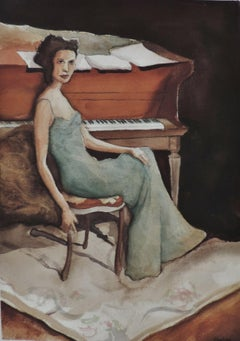 PIANO APRIL, Painting, Watercolor on Watercolor Paper