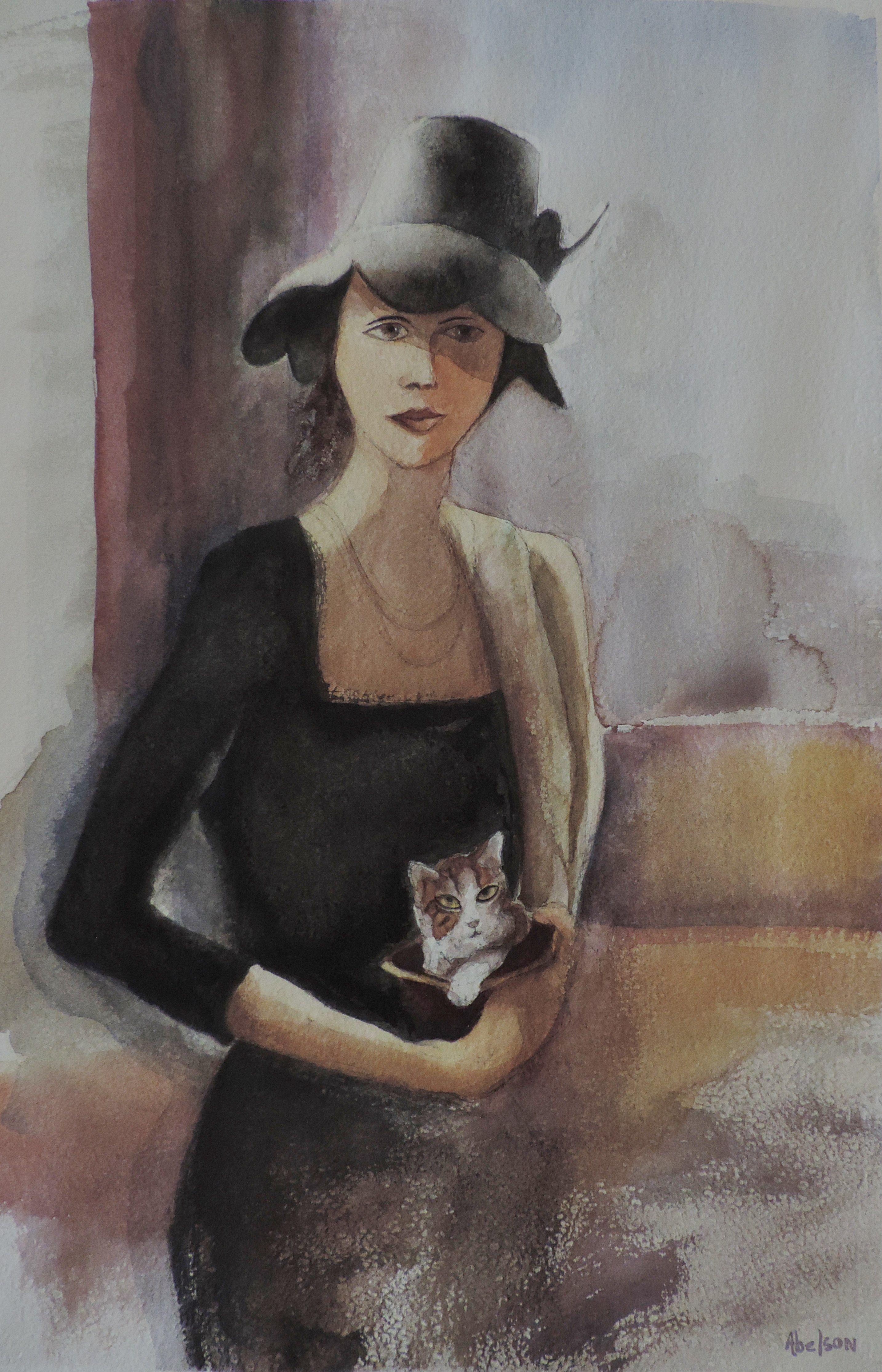 LADY AND KITTEN, Painting, Watercolor on Watercolor Paper