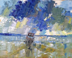 The tide is out, Painting, Oil on Wood Panel
