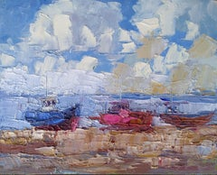 Boats at Hastings 2, Painting, Oil on Wood Panel