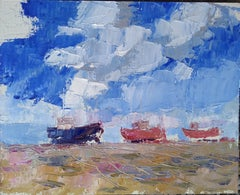 Boats, Painting, Oil on Wood Panel