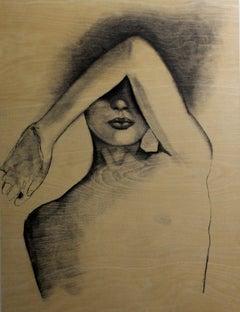 Figure, Drawing, Charcoal on Wood Panel
