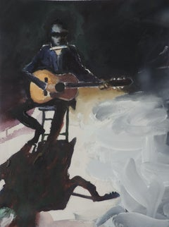 THE FOLK SINGER, Painting, Gouache on Watercolor Paper