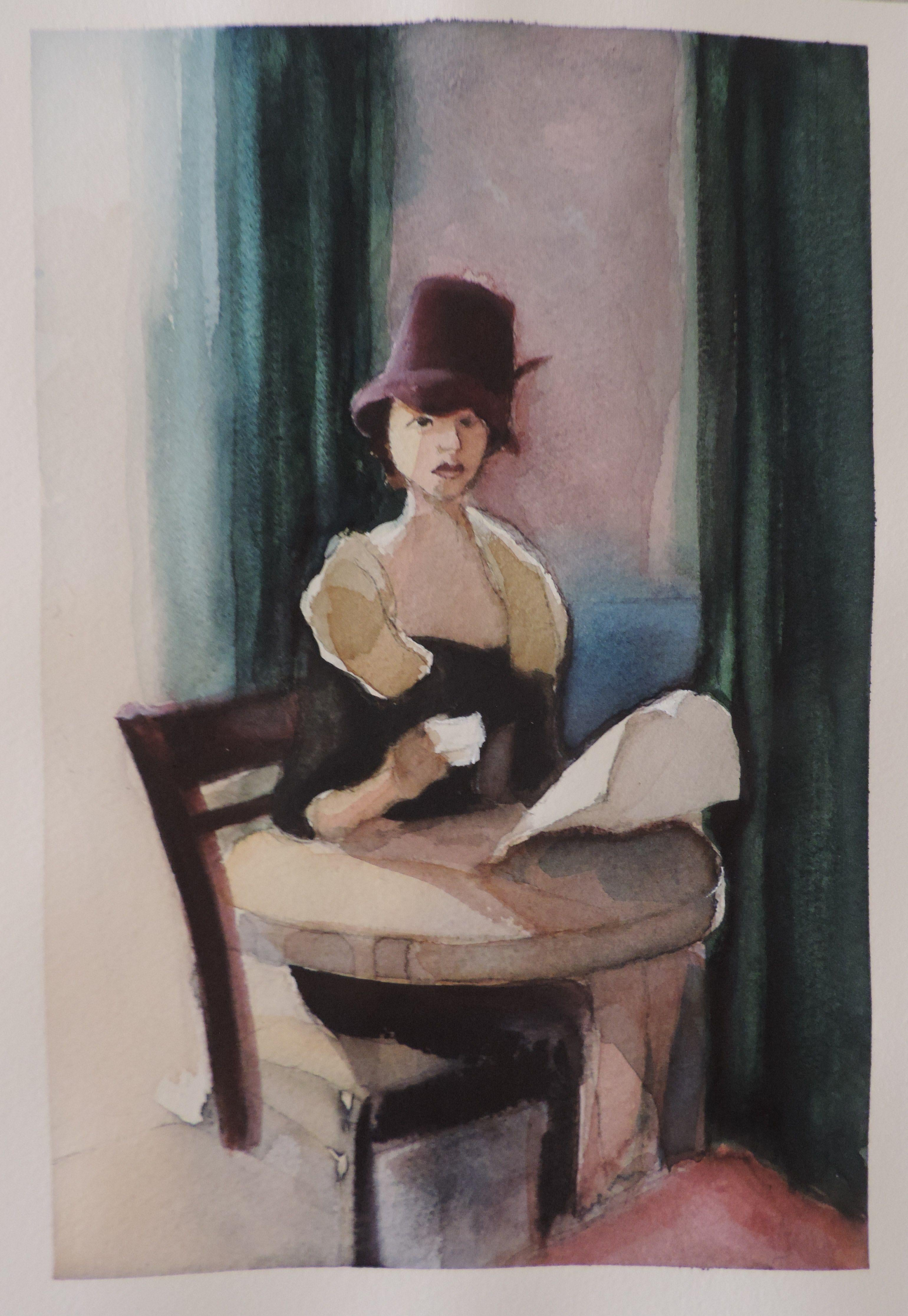 Cafe, Painting, Watercolor on Watercolor Paper