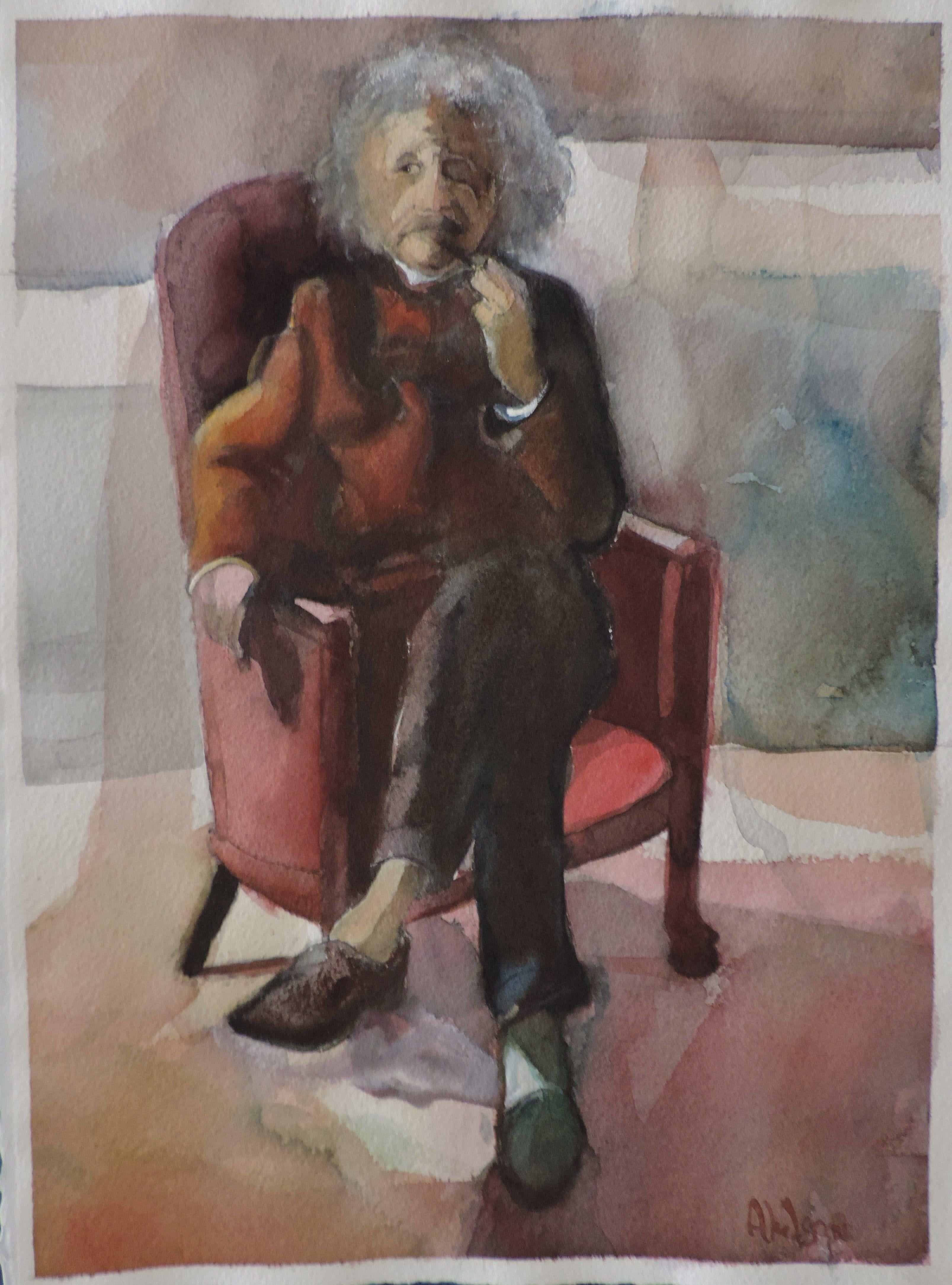 Einstein, Painting, Watercolor on Watercolor Paper