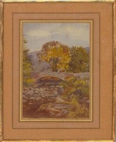 O.W. Staples - Early 20th Century Watercolour, Tal-y-Bont Bridge