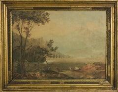 Framed 18th Century Watercolour - Landscape at Dusk